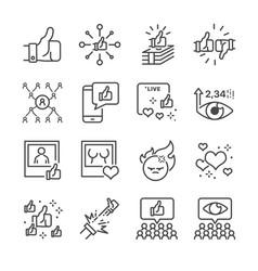 social network line icon set vector image
