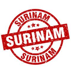 Surinam red round grunge stamp vector