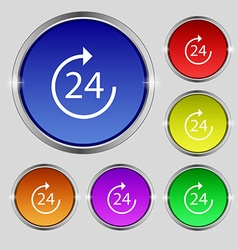 Time 24 icon sign round symbol on bright colourful vector