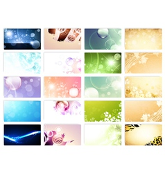 variety of 20 horizontal business cards templates vector image