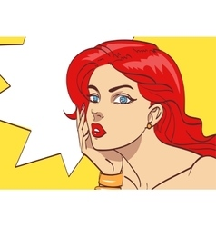 Very beautiful colorful cartoon woman in pop art vector image