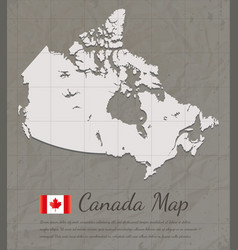 Vintage canada map paper card map silhouette vector