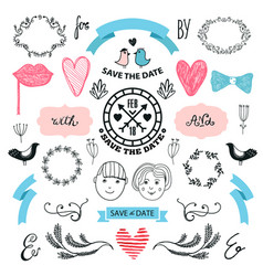 wedding graphic set arrows hearts laurel vector image