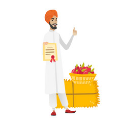 Young hindu farmer holding a certificate vector