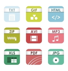 File type icons set vector