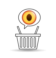 Basket market sweet peach icon design vector