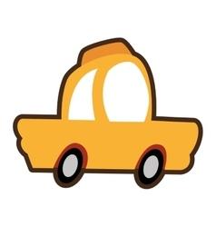 cartoon car cab yellow icon vector image