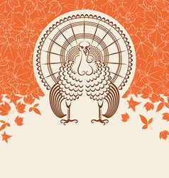 Turkey bird for thanksgiving day card for text vector