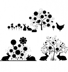 set of Easter silhouettes vector image