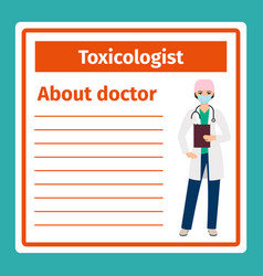 Medical notes about toxicologist vector