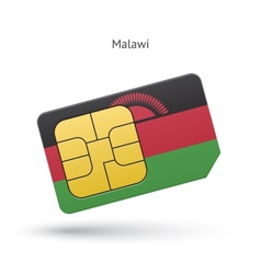 Malawi mobile phone sim card with flag vector