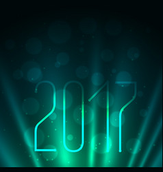 2017 on blue background with glowing rays vector