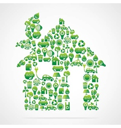 Creative green home design vector