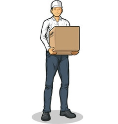 Delivery man bringing carton box vector