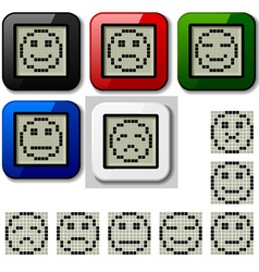 Lcd display pixel smiley faces vector