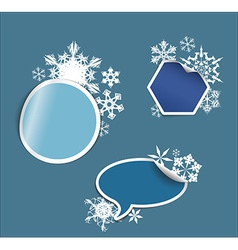 Winter labels stickers pointers tags vector
