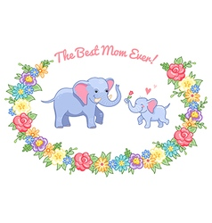 Elephant mom wreath vector
