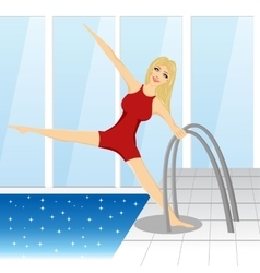 woman and pool - water sport theme vector image