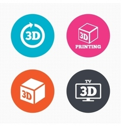 3d technology icons printer rotation arrow vector