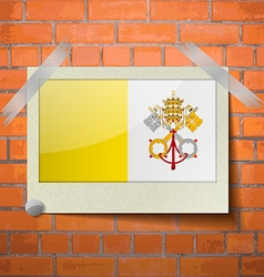 Flags vatican cityholy see scotch taped to a red vector