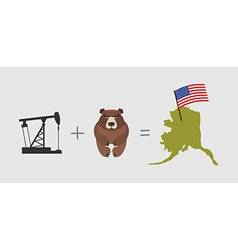 Oil rig and bear symbols of alaska american flag vector