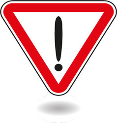 Sign exclamation mark in red triangle vector