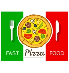 Italian pizza fast food vector