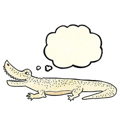 Cartoon happy crocodile with thought bubble vector