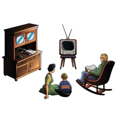 Family watcing tv vector
