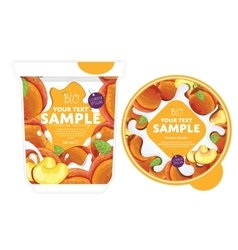Peach yogurt packaging design template vector