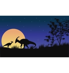 At night parasaurolophus silhouette with moon vector