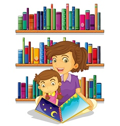 A mother with her daughter reading a book vector image
