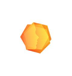 Abstarct orange geometric shape human face in vector
