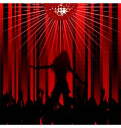 Abstract red background and dancer vector