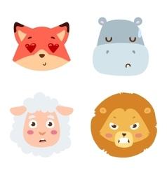 Animal emotion avatar icon vector