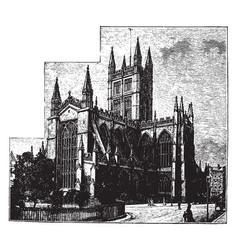 Bath abbey cathedral church vintage vector