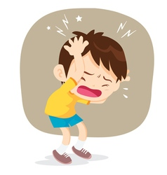 boy have headache vector image vector image