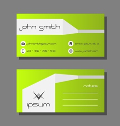 Business card template - green and white design vector image