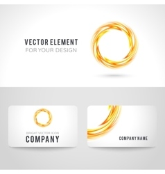 Business card template set abstract orange circle vector image