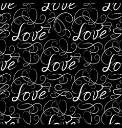 Calligraphic love seamless pattern with vignette vector