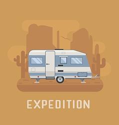 Camper Trailer on desert National Park Area vector image vector image