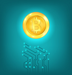 Circuit background design make crypto currency vector