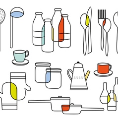 Cook and eat equipments vector
