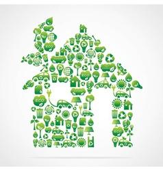 Creative green home design vector