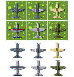 Different designs of military airplanes vector