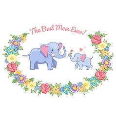 Elephant mom wreath vector