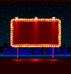 empty neon banner signboard city background vector image vector image