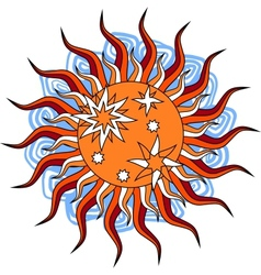 Fantasy hand drawn sun over white vector image