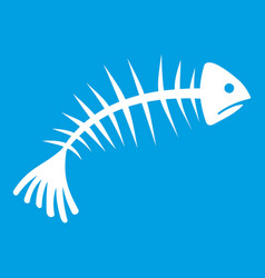 fish bones icon white vector image