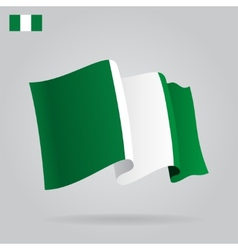 Flat and waving nigerian flag vector